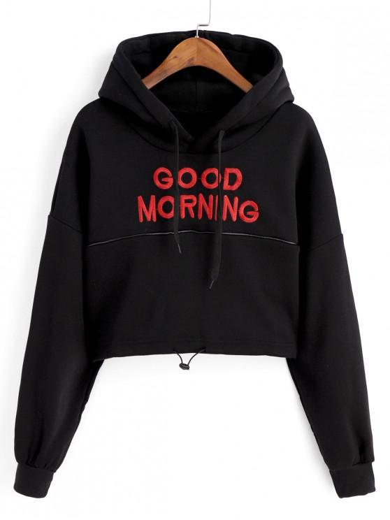 affordable Toggle Drawstring Drop Shoulder Letter Embroidered Hoodie - BLACK M