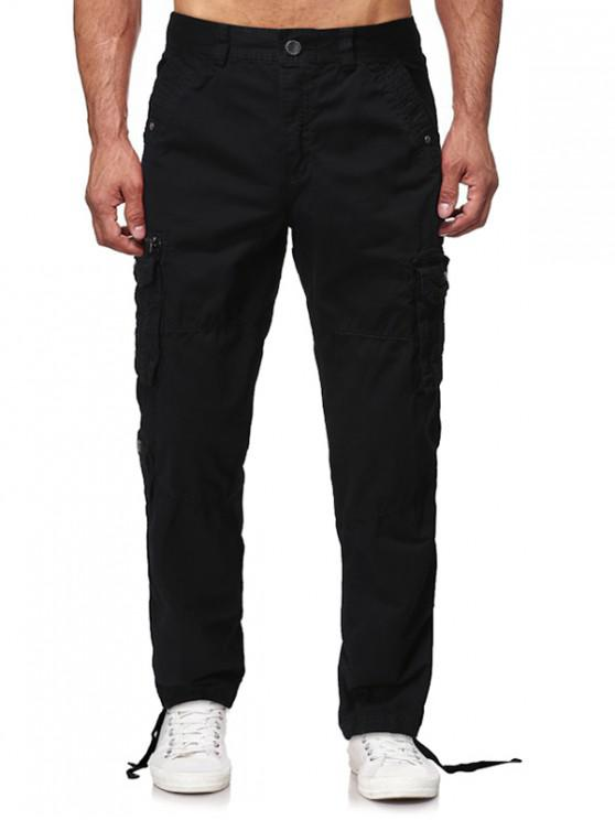 womens Multi Flap Pockets Solid Long Straight Cargo Pants - BLACK 34
