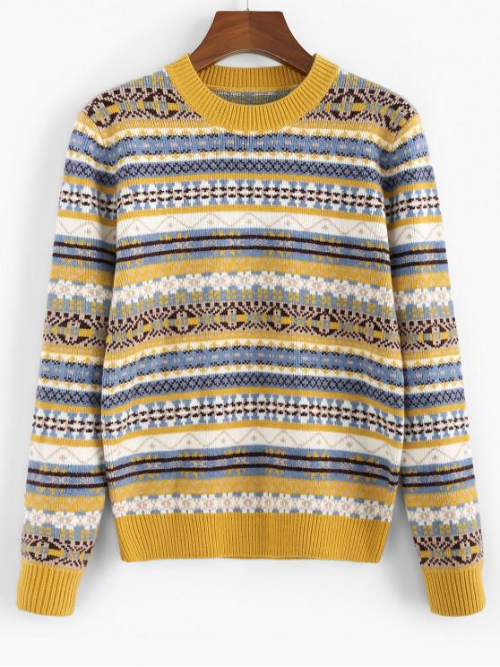 outfits ZAFUL Geometric Crew Neck Jumper Sweater - GOLDENROD M