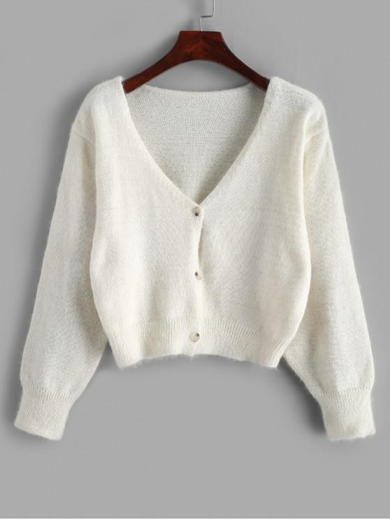 latest Fuzzy Button Up V Neck Cropped Cardigan - WHITE ONE SIZE