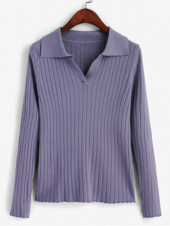 shops Turn Down Collar Ribbed Long Sleeve Knitwear - BABY BLUE ONE SIZE