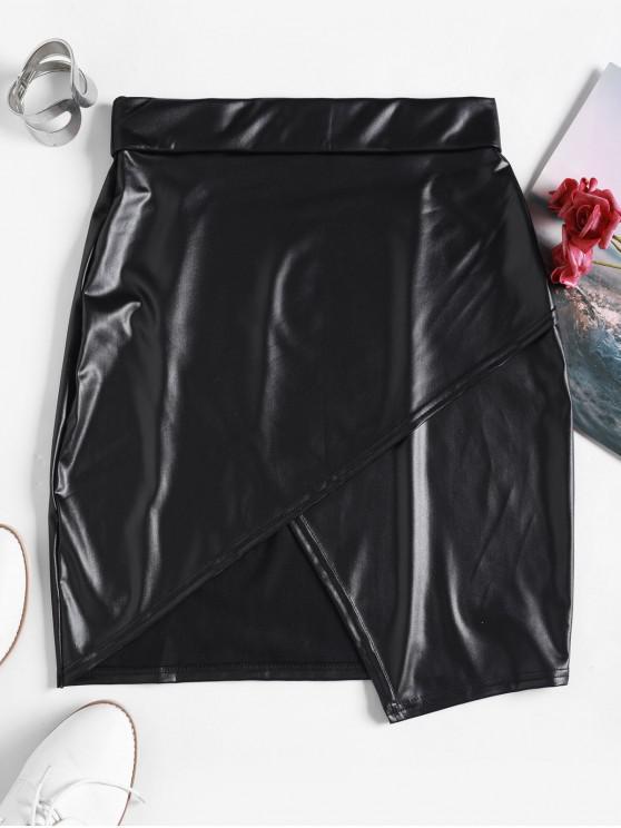 lady Faux Wrap Skirt - BLACK XL