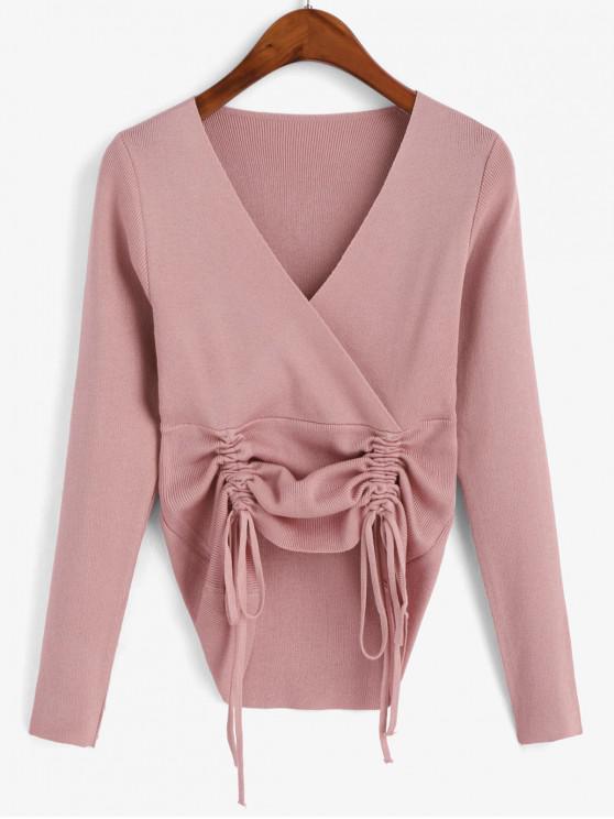 fancy Shirred Surplice Pullover Knitwear - PINK ONE SIZE