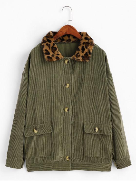 latest Fuzzy Leopard Collar Drop Shoulder Corduroy Jacket - CAMOUFLAGE GREEN XL