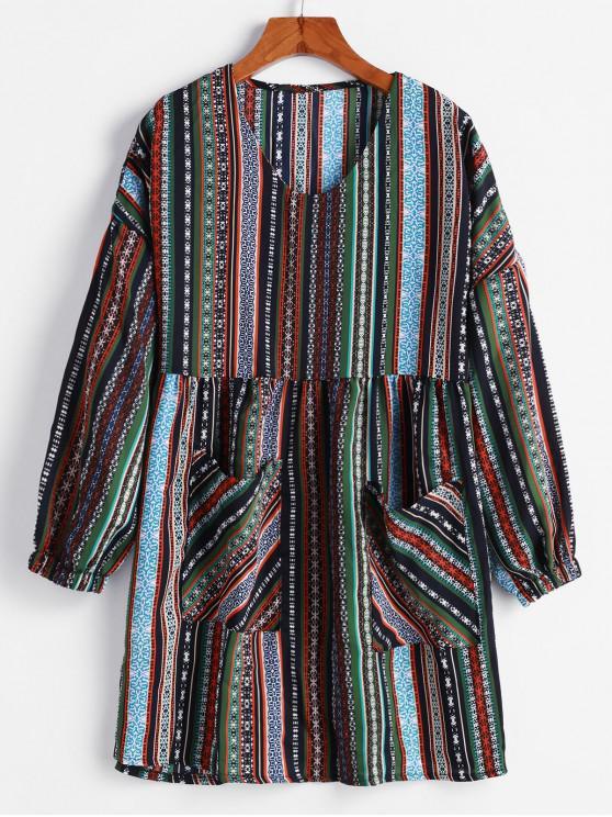 affordable Dual Pocket Printed Stripes Long Sleeve Dress - MULTI-A L