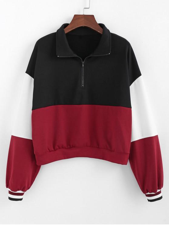 trendy ZAFUL Color-blocking Quarter Zip Striped Cuff Sweatshirt - MULTI L