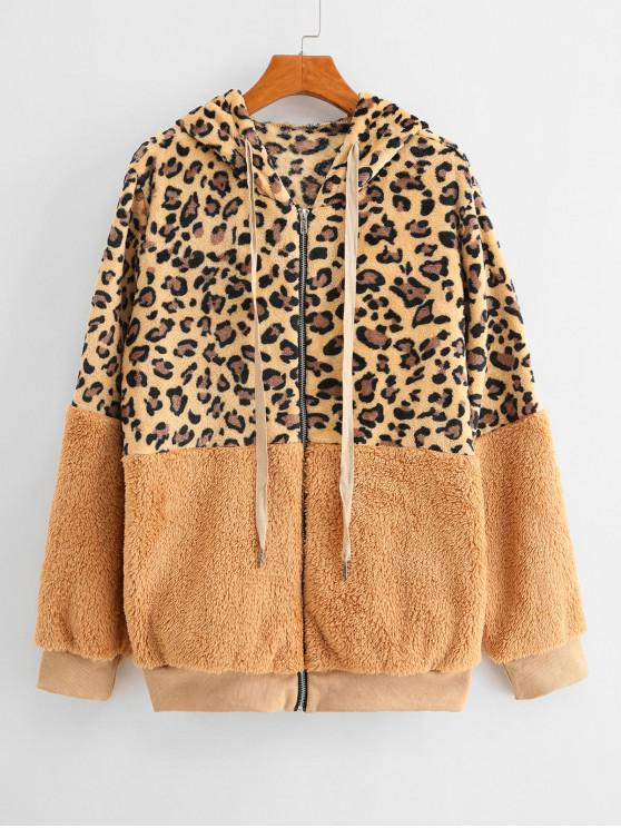 Seam Tasche Leopard Zip Up Teddy Jacket - marrone chiaro XL