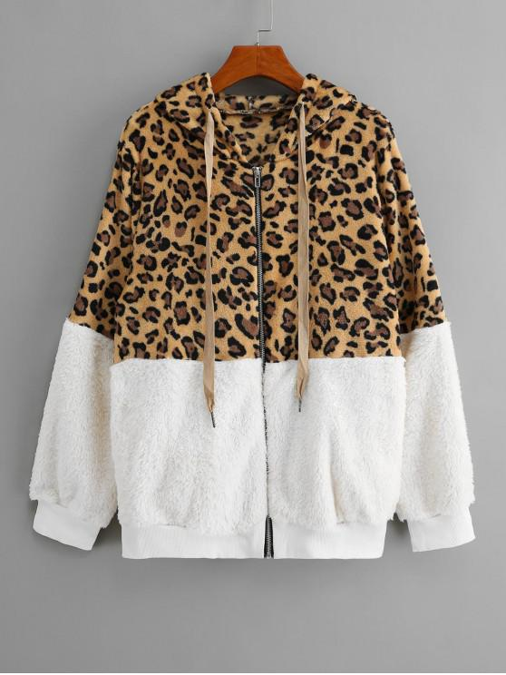 lady Seam Pockets Leopard Zip Up Teddy Jacket - WHITE S