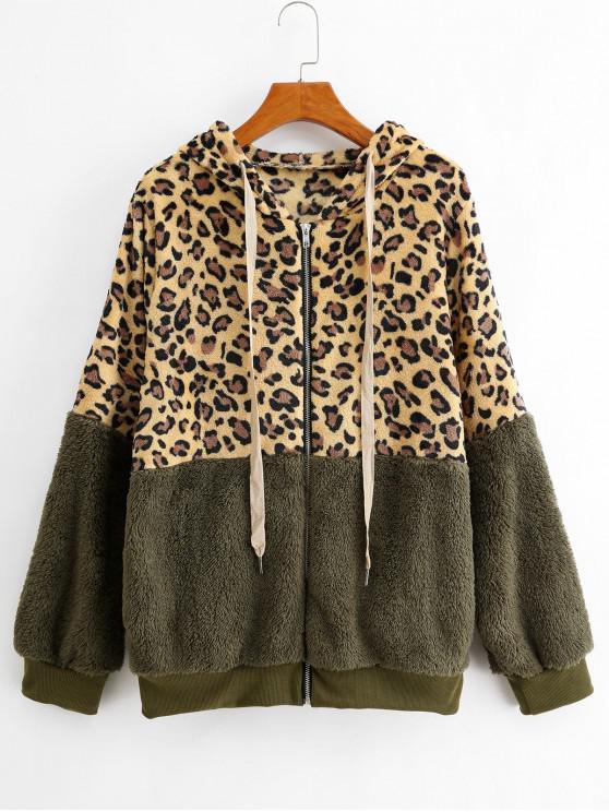 online Seam Pockets Leopard Zip Up Teddy Jacket - ARMY GREEN XL