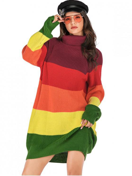 fashion Turtleneck Colorblock Shift Sweater Dress - MULTI L