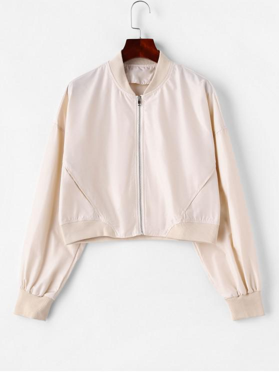 new Solid Zip Up Pockets Bomber Jacket - APRICOT XS