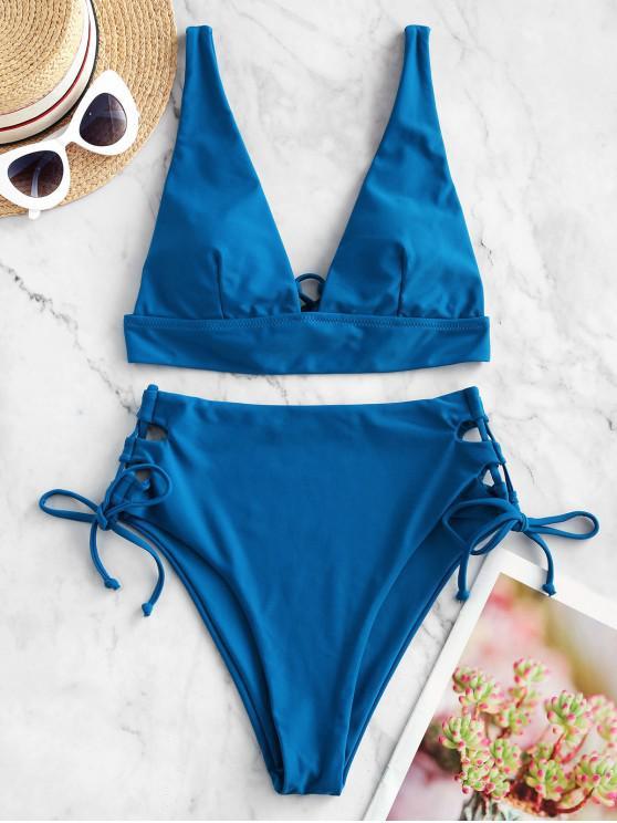 trendy ZAFUL Plunge Lace-up Tankini Swimsuit - OCEAN BLUE L