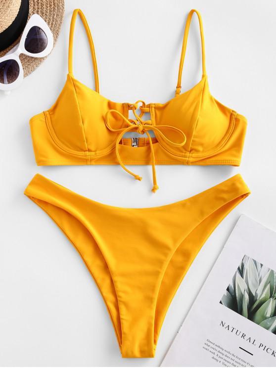 women ZAFUL Lace Up Underwire High Cut Bikini Swimsuit - BRIGHT YELLOW S