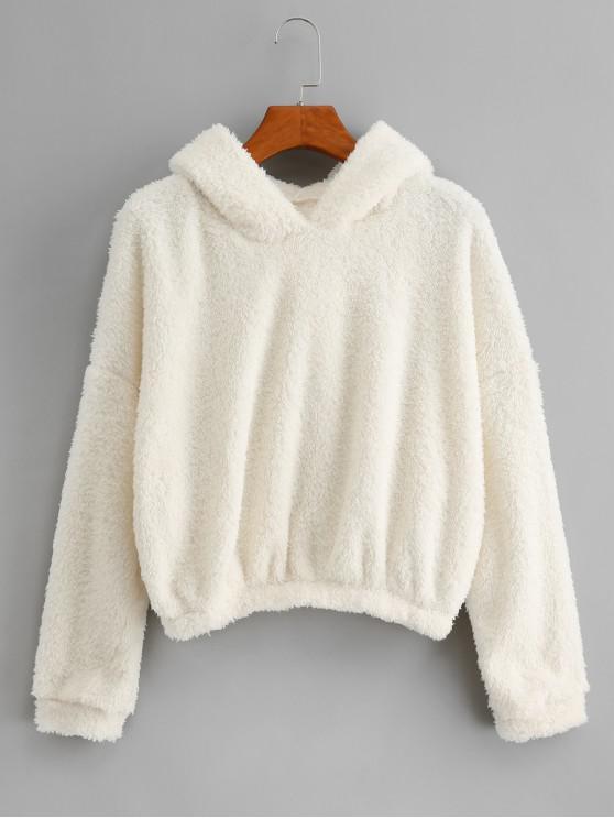 new Plain Drop Shoulder Fluffy Teddy Hoodie - WHITE L