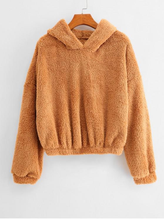shop Plain Drop Shoulder Fluffy Teddy Hoodie - TIGER ORANGE L