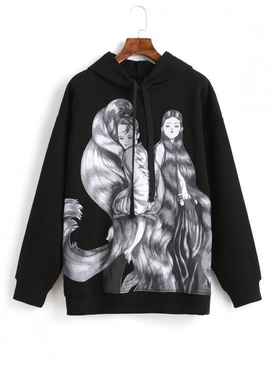 fancy Long-haired Girl Graphic Drop Shoulder Fleece Hoodie - BLACK L