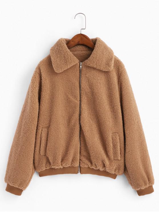 shops Zip Up Fuzzy Teddy Coat - LIGHT BROWN L