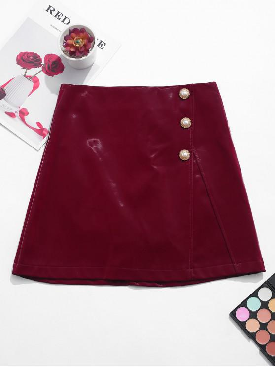 womens Pearly Buttons Patent Leather Mini Skirt - RED WINE 2XL