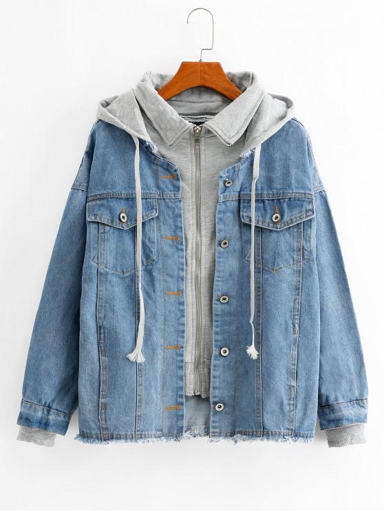 latest Frayed Hooded Zip Drop Shoulder Denim Pocket Jacket - LIGHT SKY BLUE XL