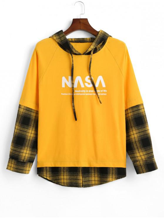 ladies Plaid Splicing Letter Graphic Faux Twinset Raglan Sleeve Hoodie - YELLOW L