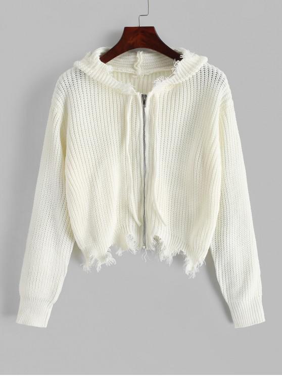 unique Frayed Zip Up Crop Hooded Cardigan - WHITE ONE SIZE