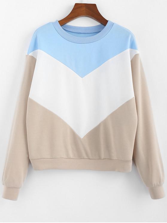 women ZAFUL Color-blocking Chevron Long Sleeve Sweatshirt - SAND S