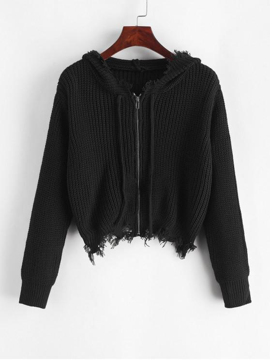outfits Frayed Zip Up Crop Hooded Cardigan - BLACK ONE SIZE