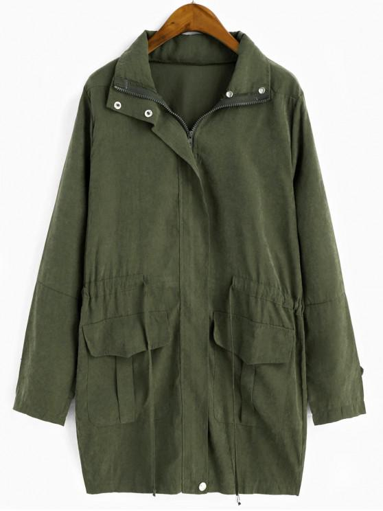 affordable Drawstring Waist Zip Up Trench Coat - CAMOUFLAGE GREEN M