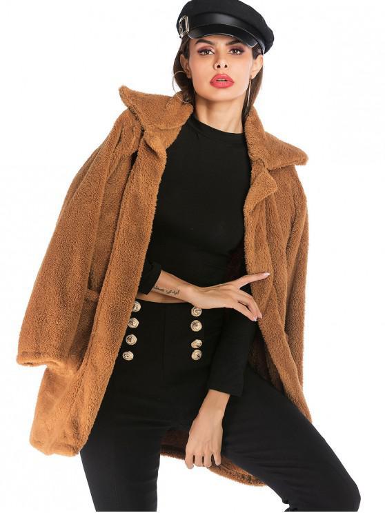 lady Pockets Solid Faux Fur Coat - BROWN L