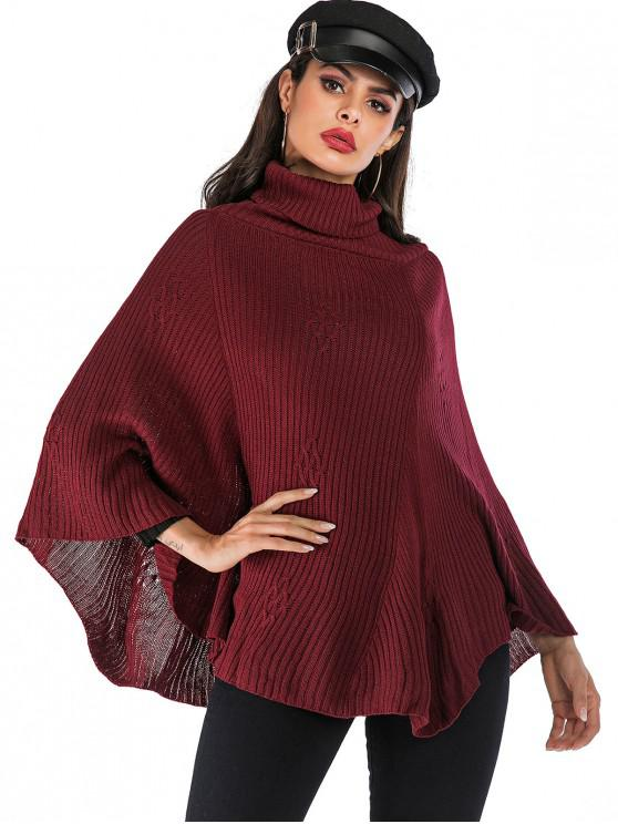 outfit Turtleneck Solid Color Cape Sweater - RED WINE L