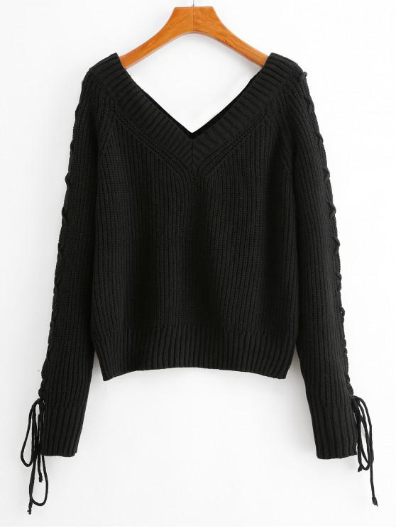 Solid Pulover V Neck Lace Up Sweater - Negru M