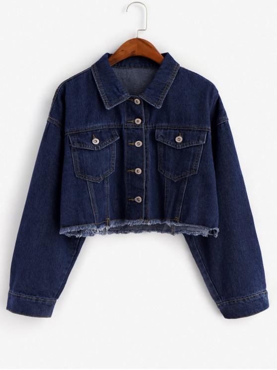 women Frayed Hem Button Front Flap Pockets Denim Jacket - DENIM DARK BLUE S