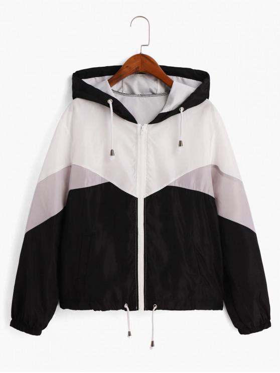 lady Color-blocking Drawstring Hem Hooded Windbreaker Jacket - MULTI M