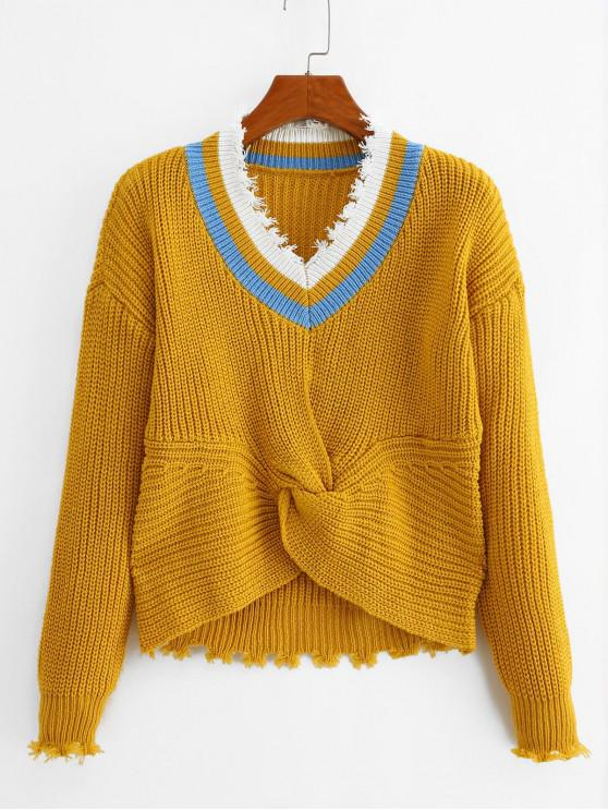 sale Twisted Ripped Trim Drop Shoulder Sweater - YELLOW ONE SIZE