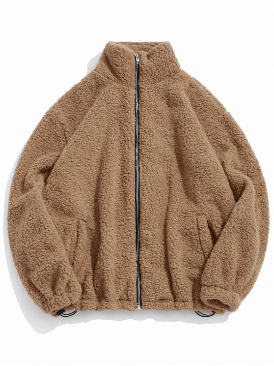 womens ZAFUL Faux Fur Solid Toggle Drawstring Fuzzy Jacket - CAMEL BROWN 2XL