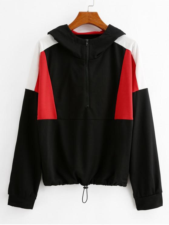 unique Color-blocking Toggle Drawstring Half Zip Hoodie - BLACK M