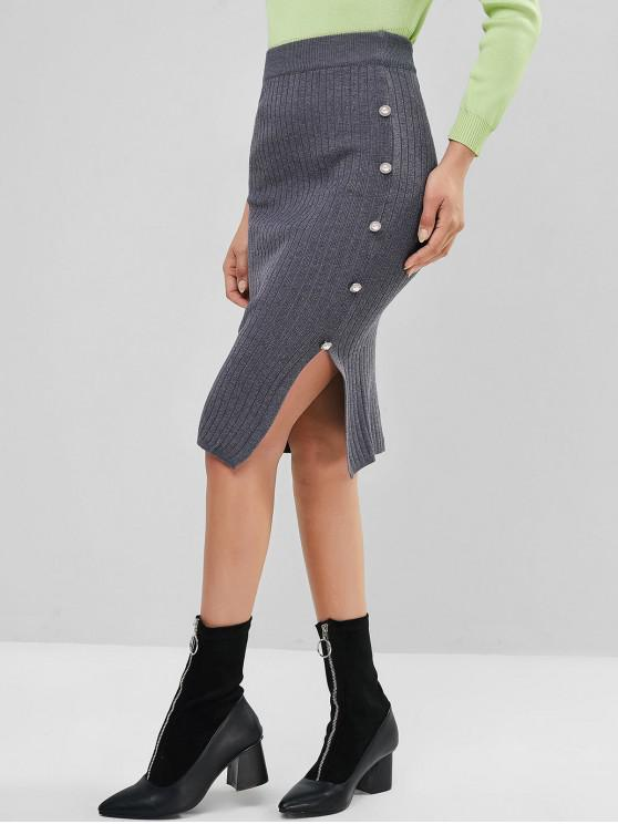 womens Faux Pearl Button Slit Knitted Bodycon Pencil Skirt - GRAY ONE SIZE