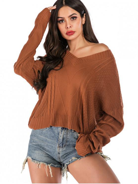 hot V Neck Cable Knit High Low Sweater - BROWN L
