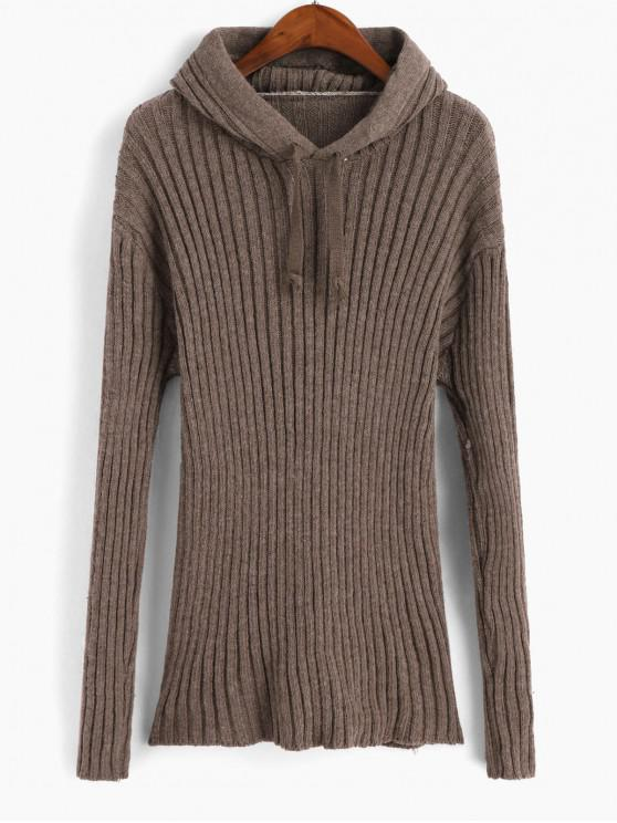 shops Hooded Drop Shoulder Ribbed Sweater - BROWN ONE SIZE