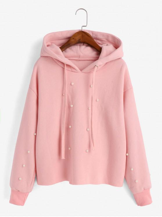 Beading Fleece Lined Faux Pearl Raw Cut Hoodie - Roz M