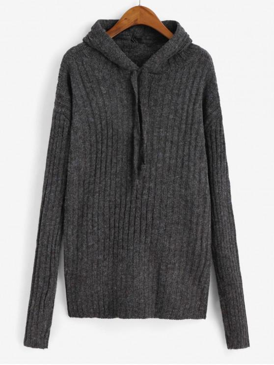 hot Hooded Drop Shoulder Ribbed Sweater - DARK GRAY ONE SIZE