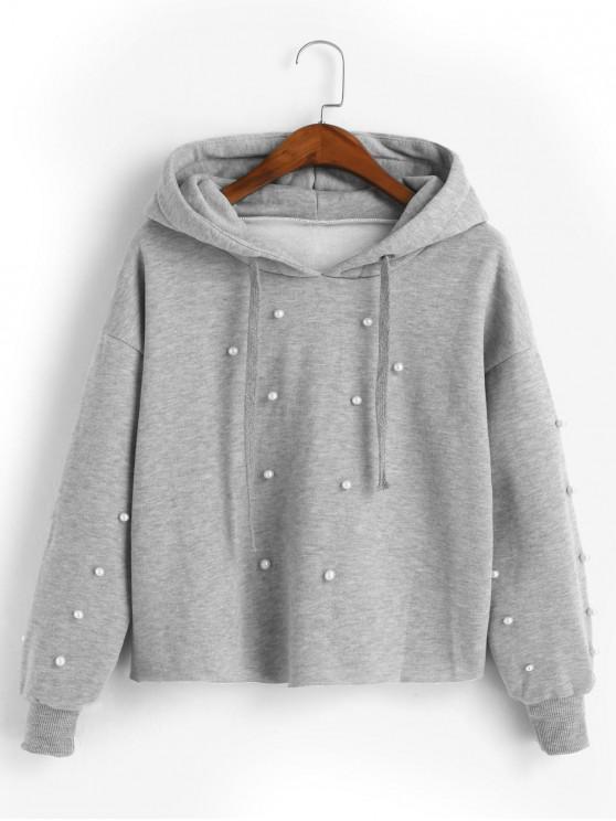 online Beading Fleece Lined Faux Pearl Raw Cut Hoodie - GRAY XL