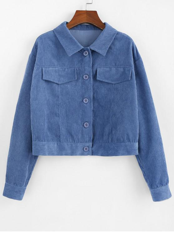 affordable ZAFUL Corduroy Single Breasted Plain Jacket - SKY BLUE M