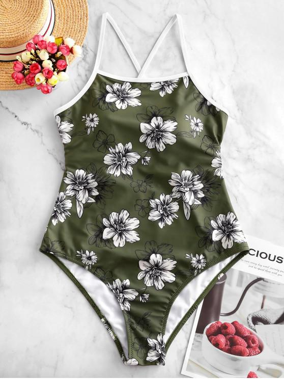 shop ZAFUL Floral Crisscross One-piece Swimsuit - CAMOUFLAGE GREEN S