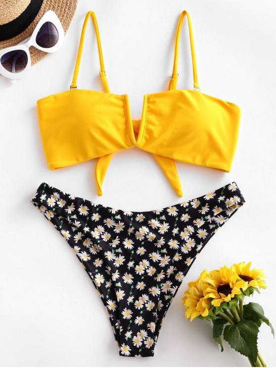 outfit ZAFUL Daisy Floral V-wire High Cut Bikini Swimsuit - YELLOW M