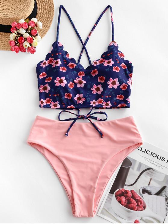 shop ZAFUL Floral Scalloped Crisscross Tankini Swimsuit - ROSE M