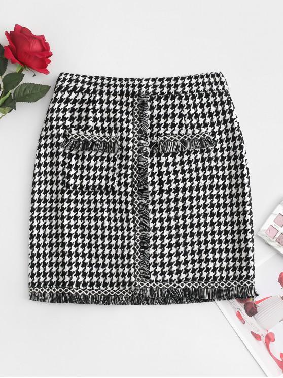 new Houndstooth Fringed Tweed Skirt - MULTI XS