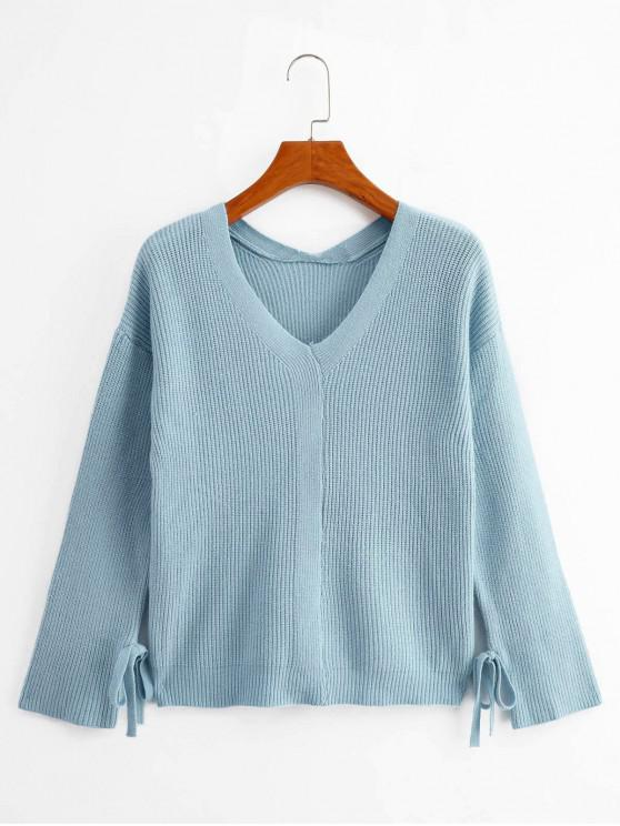 outfits Knotted Sleeves V Neck Solid Sweater - BLUE ONE SIZE