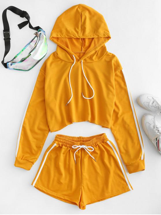 affordable Two Piece Drawstring Racing Stripes Sweat Shorts Set - GOLDEN BROWN XL