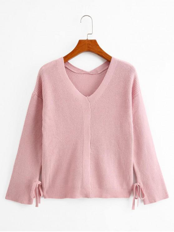 women Knotted Sleeves V Neck Solid Sweater - PINK ONE SIZE
